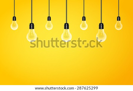Hanging light bulbs on a yellow background with copy space. Vector illustration for your design - stock vector