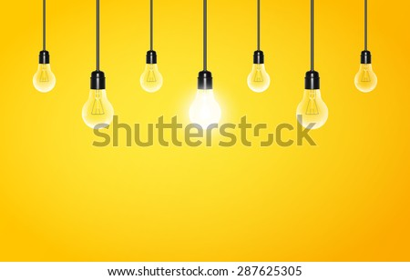 Hanging light bulbs with glowing one on a yellow background, copy space. Vector illustration for your design - stock vector