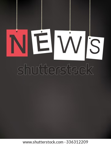 hanging news labels - stock vector