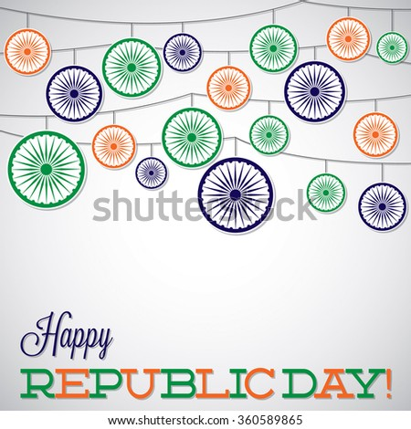 Hanging ornament Republic Day card in vector format. - stock vector