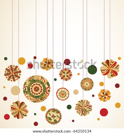 Hanging ornaments with room for text at top. - stock vector