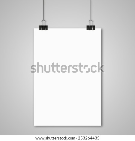hanging paper sign - stock vector