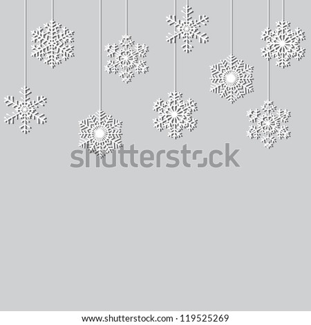 Hanging paper snowflakes. Christmas background - stock vector