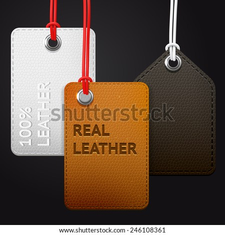 Hanging real leather texture vector tags set, brown, black abd white labels on a dark background - stock vector