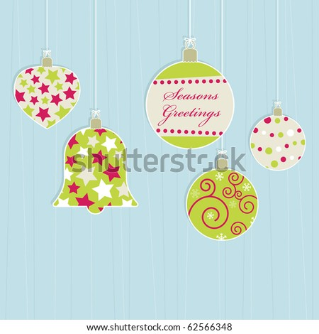 hanging retro christmas decorations on blue background - stock vector