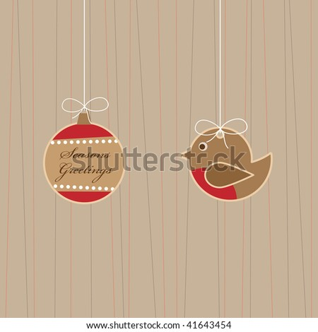 hanging robin and bauble christmas decorations with seasons greetings - stock vector
