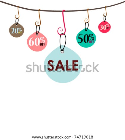 Hanging sale tags - stock vector