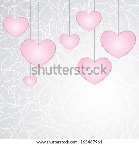 Hanging seven pink hearts with laconic lace-like outline on graphic stylized art cobweb background