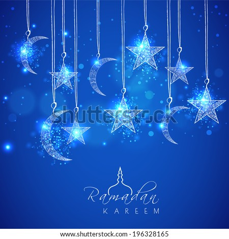 Hanging shiny moons and stars on blue background for holy month of muslim community Ramadan Kareem.  - stock vector