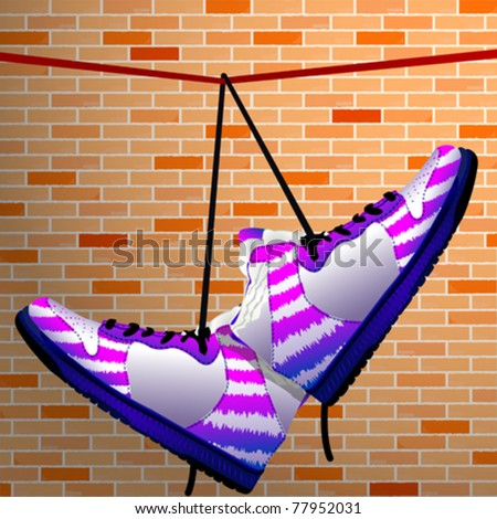hanging shoes over wall background, abstract vector art illustration
