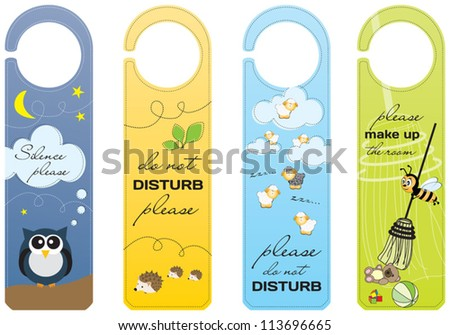 Hanging signs for children and pet friendly hotels - stock vector