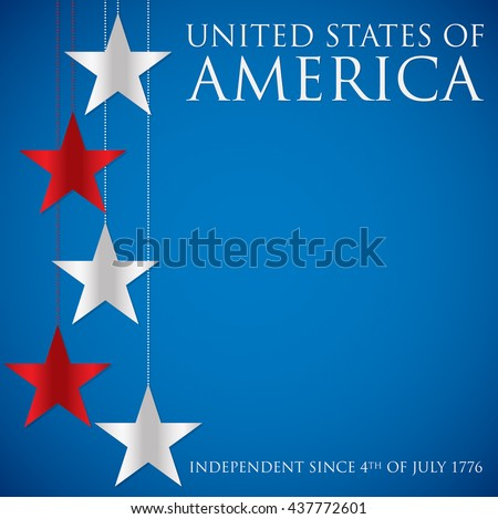 Hanging star United States of America card in vector format. - stock vector