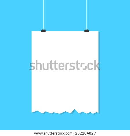 hanging torn white poster with shadow. concept of advertising poster, promotion, advertisement, announcing, public relations. flat style trendy modern silhouette design vector illustration - stock vector