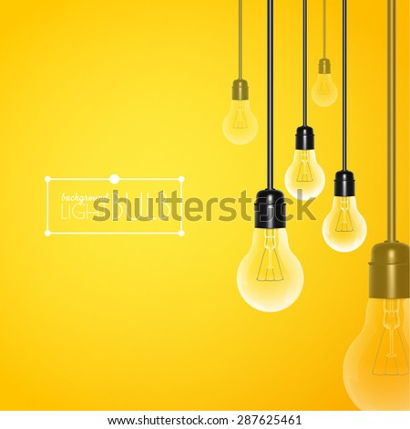 Hanging turned off light bulbs on a yellow background. Vector illustration for your design. - stock vector
