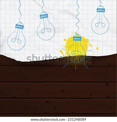 Hanging vector light bulbs (one light on, others off) hand drawn on the piece of sketch paper with yellow ink splash. Dark brown wooden background. Big idea and innovation concept. - stock vector
