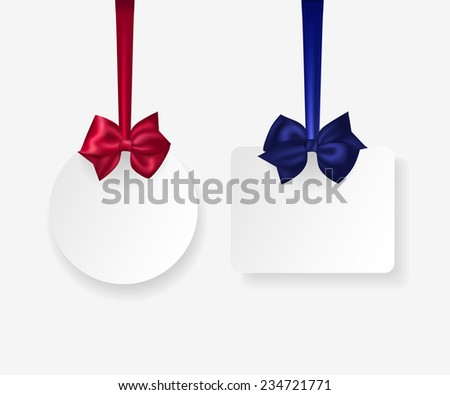 Hanging white paper labels with photorealistic red and blue bows. Vector illustration. - stock vector