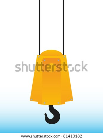 hanging yellow crane hook on blue sky - stock vector