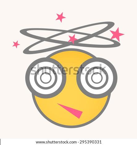 Hangover - Cartoon Smiley Vector Face - stock vector