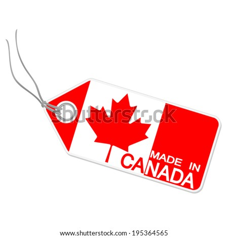 hangtag with MADE IN CANADA - stock vector