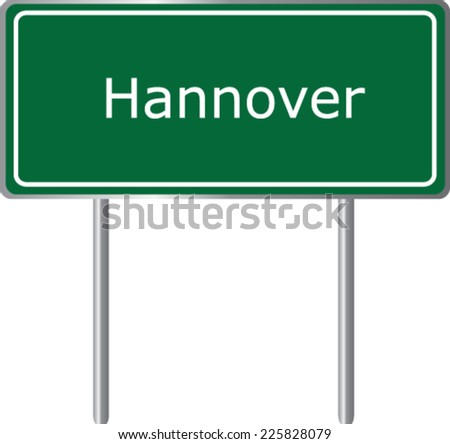 Hannover, Germany, road sign green vector illustration, road table - stock vector