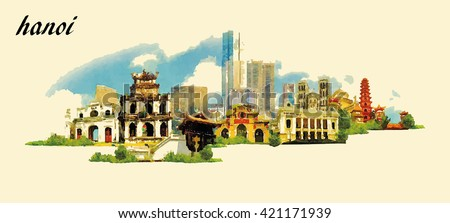 HANOI city panoramic vector water color illustration