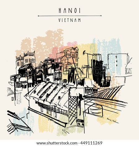 Hanoi, Vietnam, Indochina. Roofs, residential buildings, Catholic church. Skyline, above view. Big city. Travel sketch. Vintage hand drawn artistic postcard, poster, book illustration in vector - stock vector