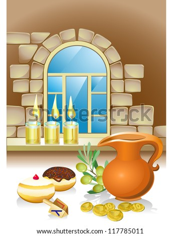 hanuka still life background with candles, donuts and window - stock vector