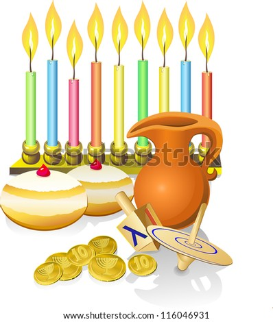 hanukkah background with candles, donuts, oil pitcher and spinning top - stock vector