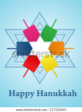 Hanukkah background with menorah and dreidel - stock vector