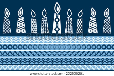 Hanukkah candles with pattern  - stock vector