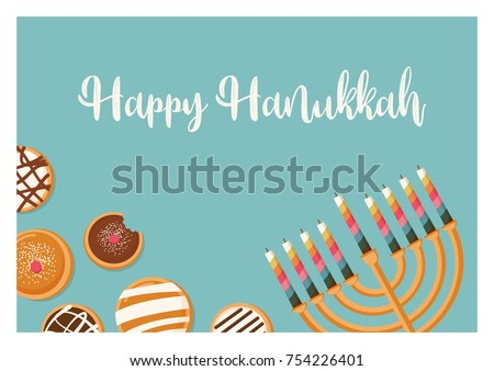 Hanukkah doughnut menora jewish holiday symbols stock vector hanukkah doughnut and menora jewish holiday symbols sweet traditional bake greeting card m4hsunfo