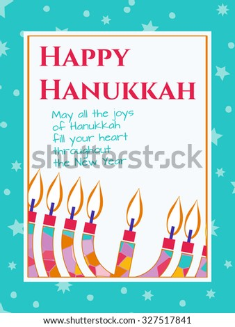 Hanukkah Greeting card design vector template. Jewish Light Festival greeting card, wallpaper / background. Hanukkah menorah with candles illustration. Sample greeting text. Editable, layered - stock vector