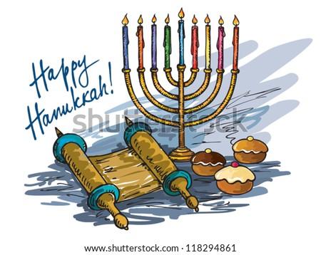Hanukkah menorah with  candle and  doughnut - stock vector