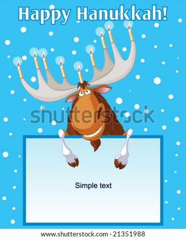Hanukkah moose holding candles on his horns - stock vector