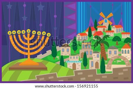 Hanukkah Night in Jerusalem - Colorful illustration of a menorah viewing on a stylized Jerusalem. Eps10 - stock vector