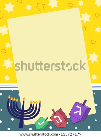 Hanukkah Note A  vector illustration of dreidels and menorahs on a blank notepad background. Eps 10 fully editable. - stock vector