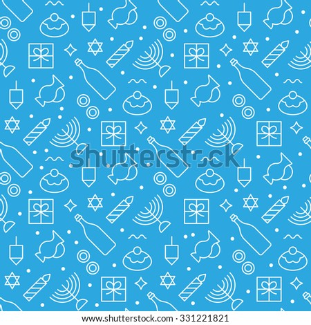 Hanukkah seamless pattern modern linear art design. Vector illustration  - stock vector