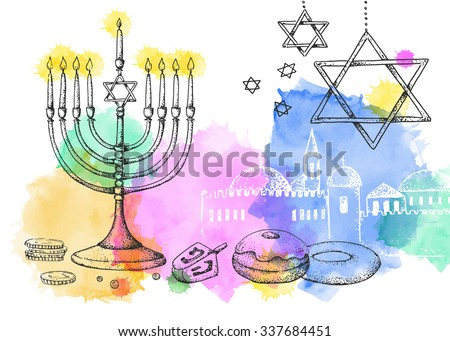 Hanukkah. Template card. Israel festival of light. Vector illustration. Hand drawn. Watercolor. Menorah, sweets, dreidel, old city. - stock vector