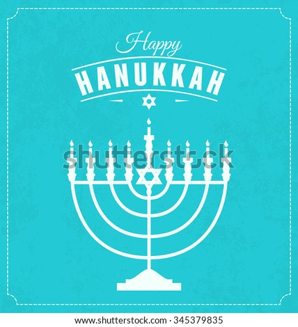Hanukkah Typographic Vector Design  - Happy Hanukkah. Jewish holiday. Hanukkah Menorah on Light Blue Background - stock vector