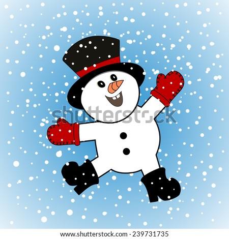 Happiest snowman alive  - stock vector
