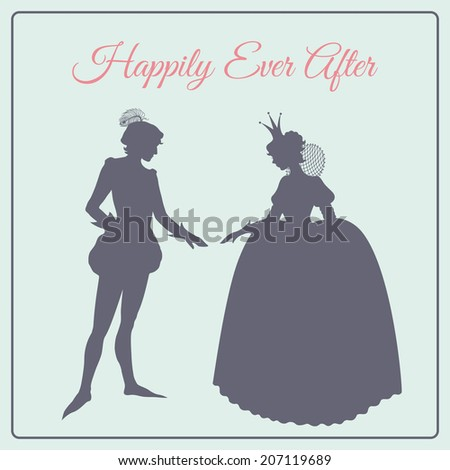 Happily ever after. Prince and princess vector silhouettes - stock vector
