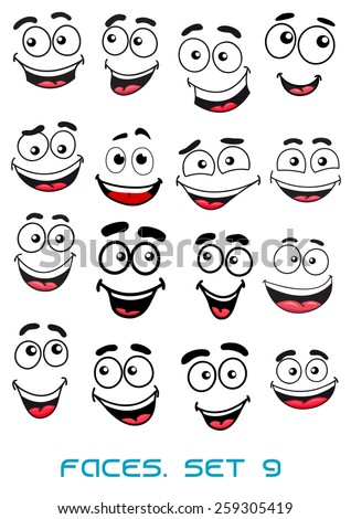Happiness and smiling people faces with good emotions for any character design - stock vector