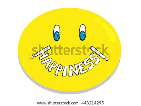 Happiness Emoticon concept. Editable Clip Art.
