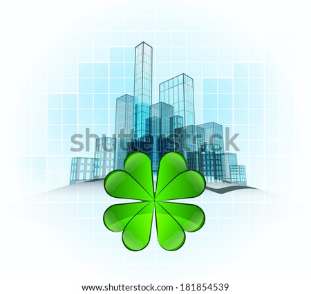 happiness of modern office city district vector concept illustration - stock vector
