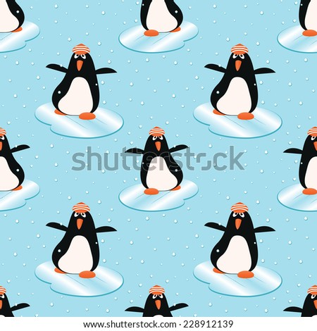 happiness penguin in winter on the ice - stock vector