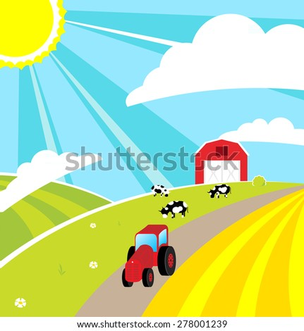 Happiness summer background on the farm vector illustration. - stock vector