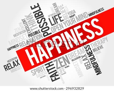 Happiness word cloud concept - stock vector