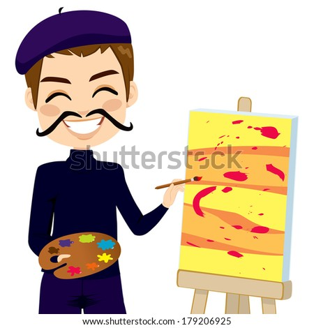 Happy abstract male painter artist with funny mustache smiling and painting with colorful palette - stock vector
