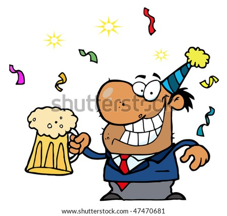 Happy African American Businessman Celebrating At A Party With Beer - stock vector
