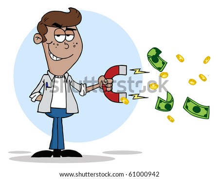 Happy African American Youth Using A Magnet To Attracts Money - stock vector